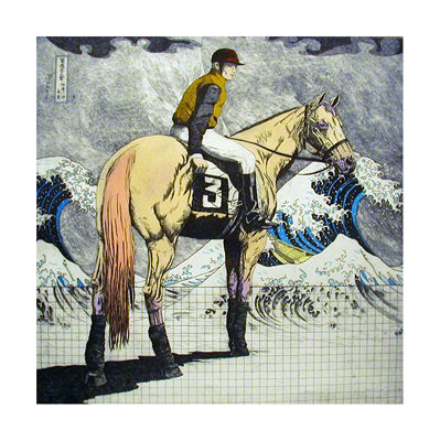 Racing-Horse-And-Jockey-With-Waves